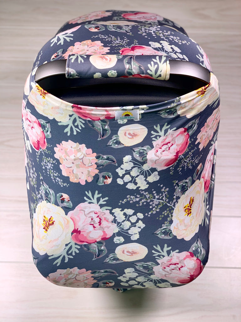 Navy Floral Car Seat Cover