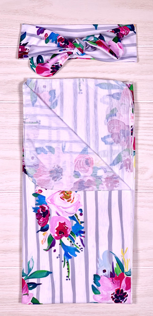 Grey Striped Floral Receiving Blanket