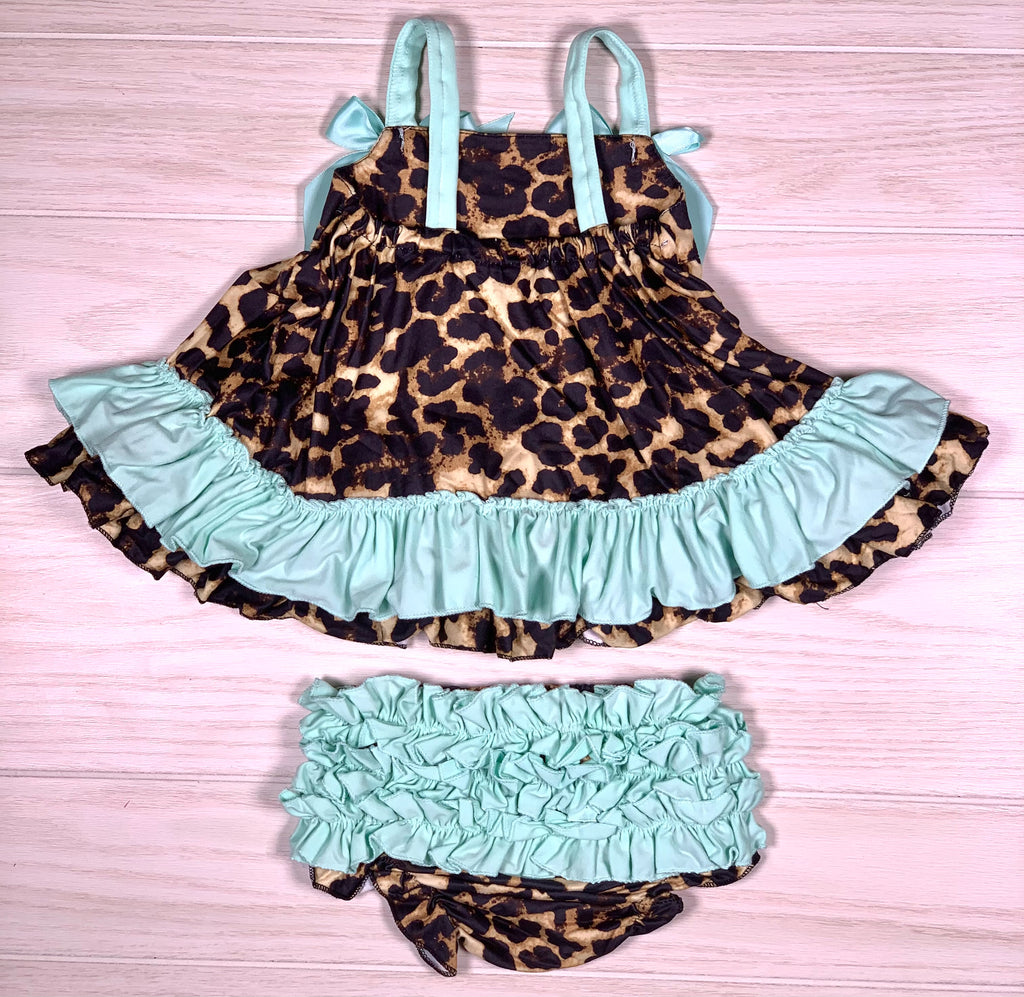 Mint Leopard Dress Set w/Bloomer