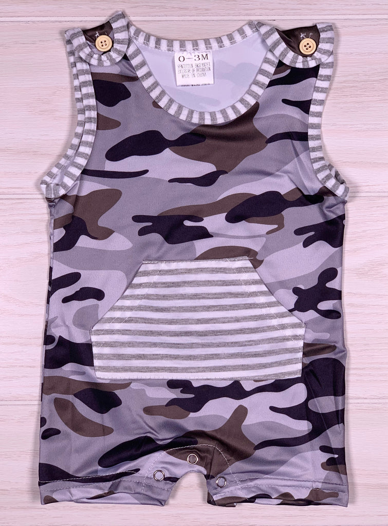 Boy Grey Camo Short Romper