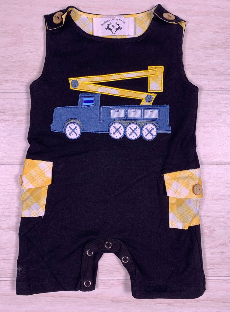 Boy Black & Yellow Truck Romper