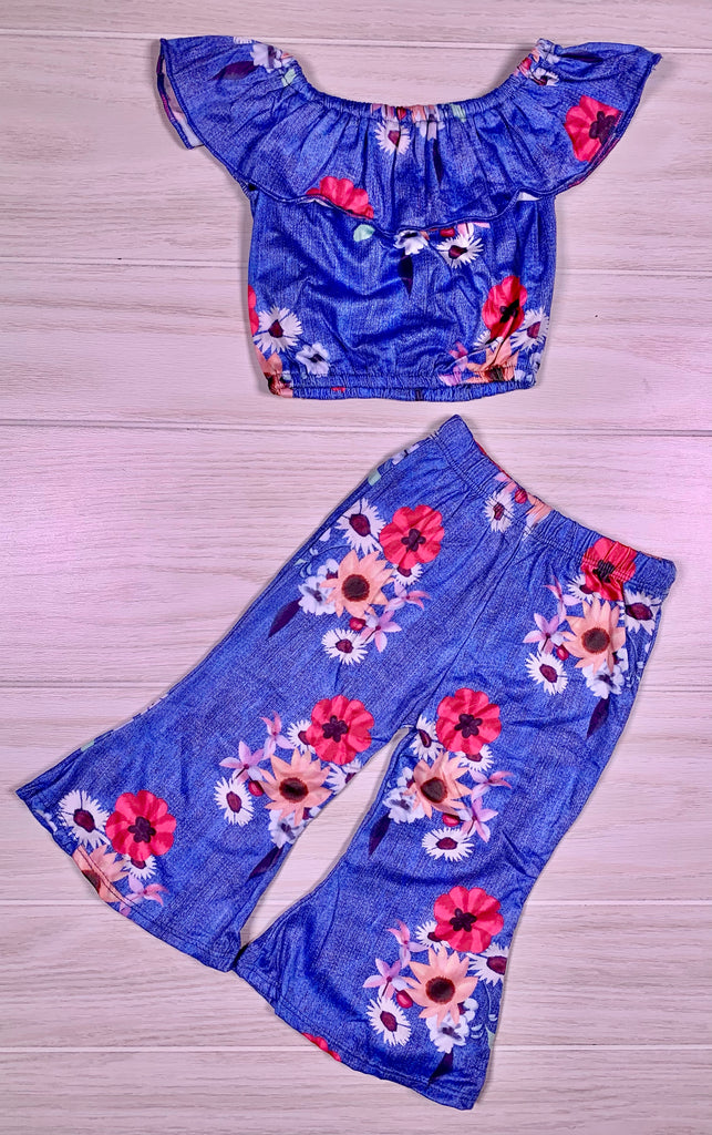 Retro Blue Floral Off Shoulder Pant Set
