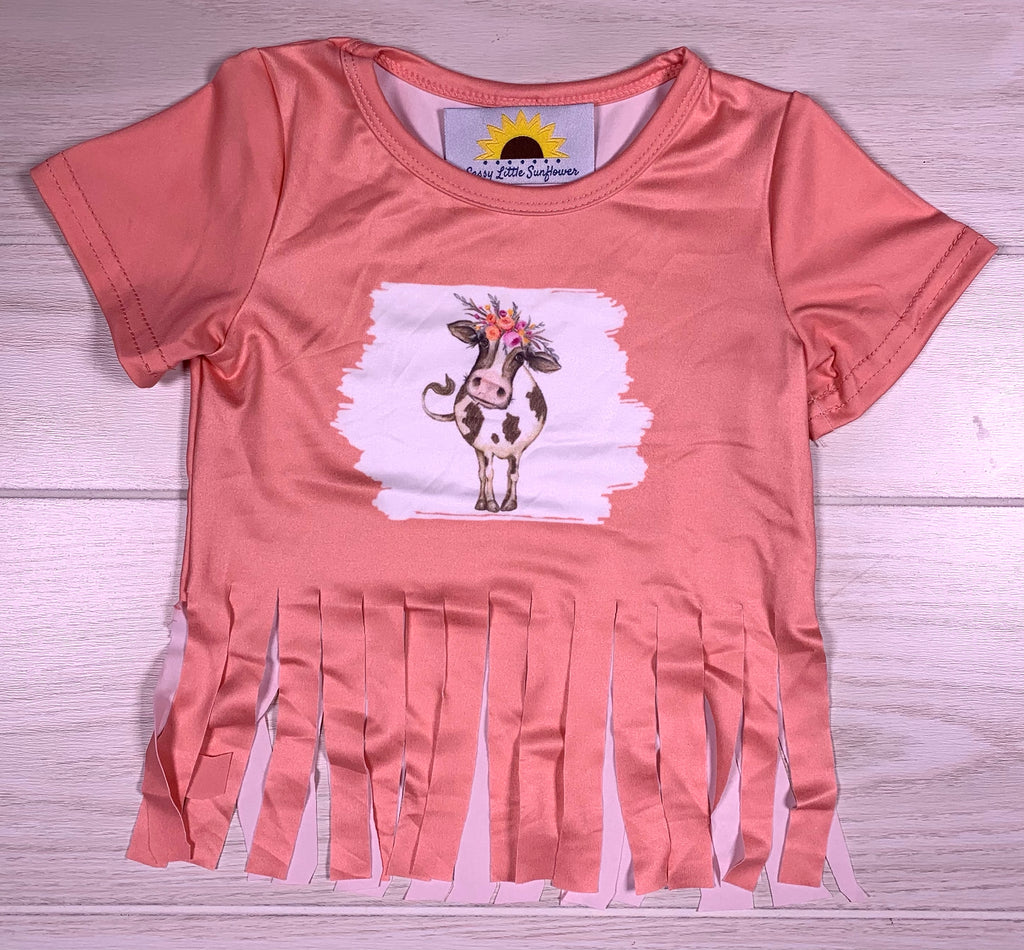 Cow Peach Fringe Shirt
