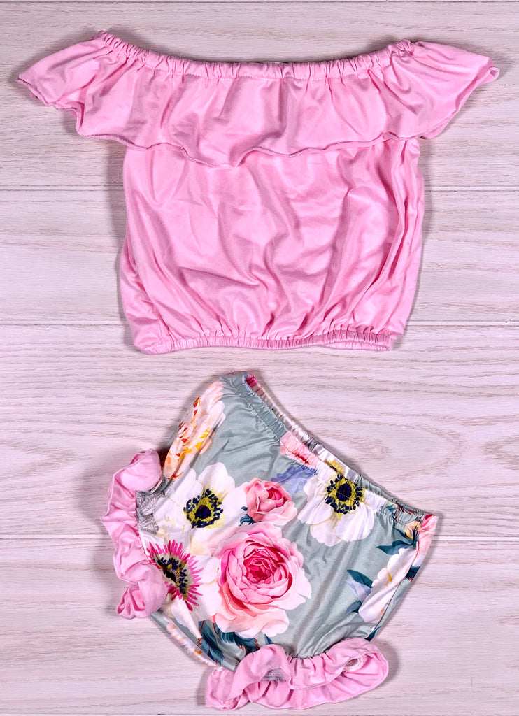 Pink Off Shoulder Shirt & Floral Short Set