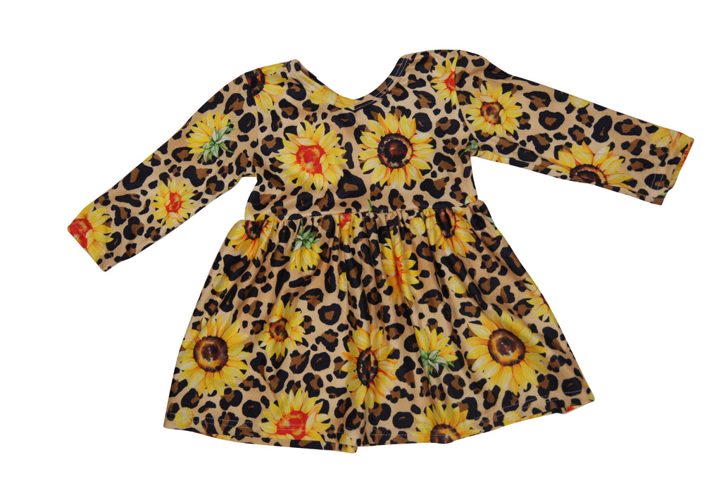 Sassy Leopard Sunflower Play Dress - Sassy Little Sunflower