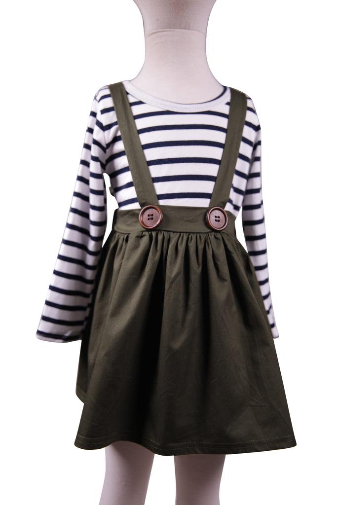 Olive Suspender Skirt - Sassy Little Sunflower