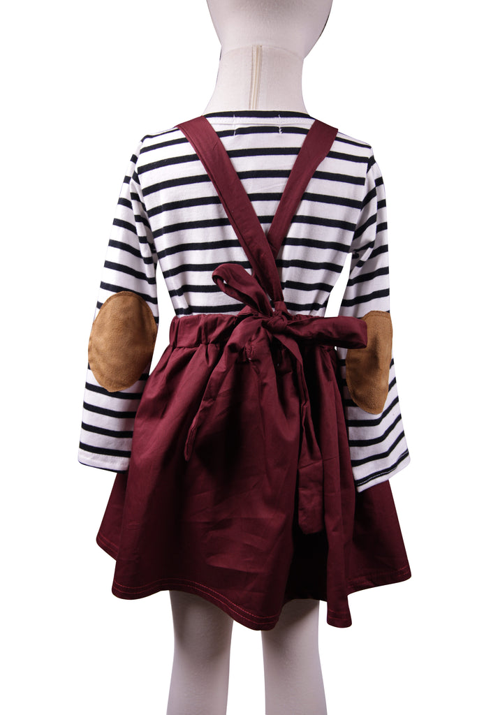 Maroon Suspender Skirt - Sassy Little Sunflower