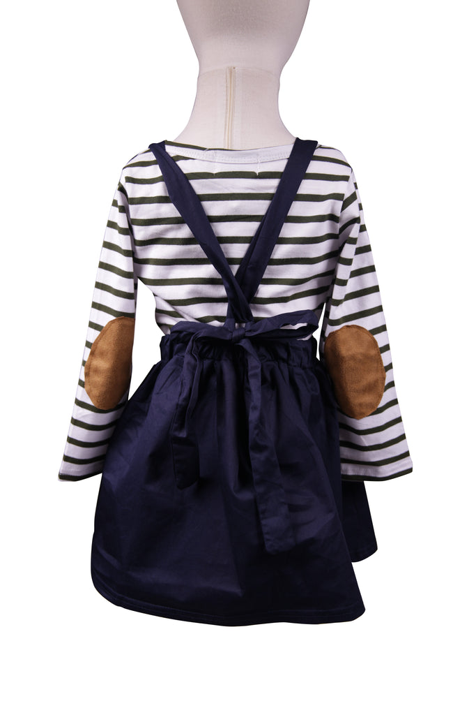 Navy Suspender Skirt - Sassy Little Sunflower