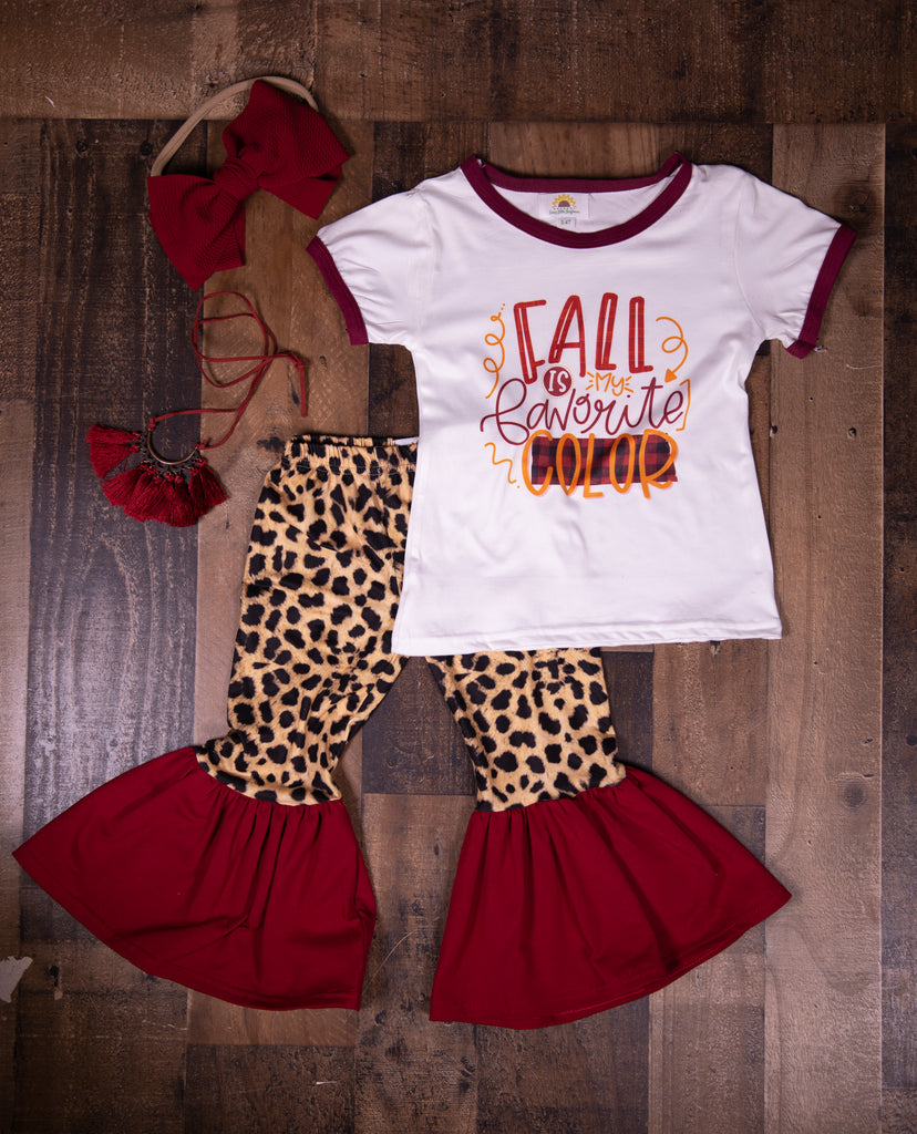 Cheetah Maroon Bell Bottoms - Sassy Little Sunflower