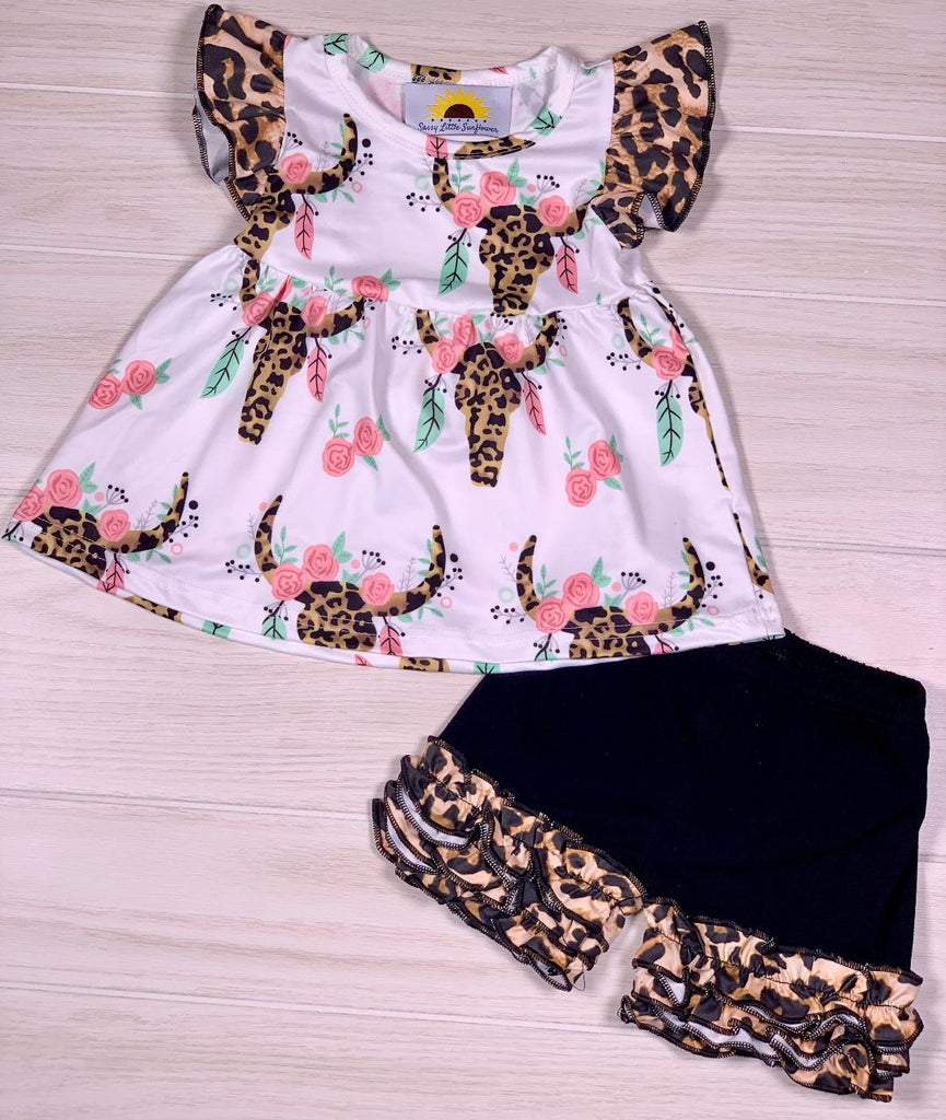 Leopard Skull Boho Flutter Sleeve Boutique Short Set