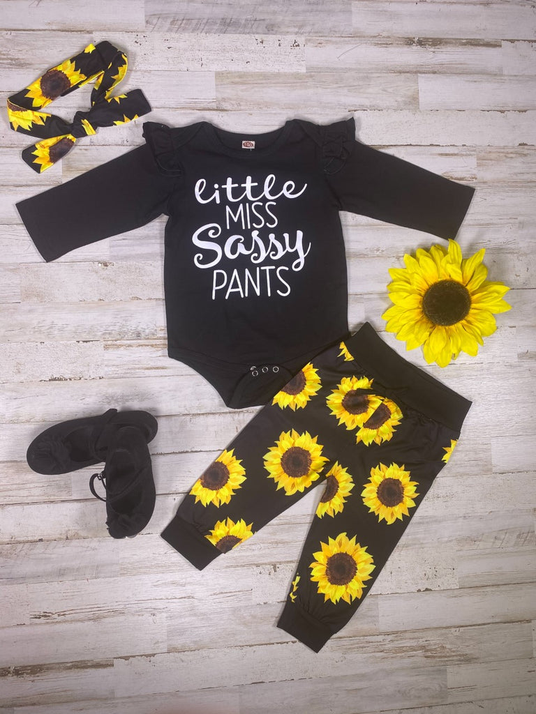 Little Sassy Pants Onesie Pants Set w/ Headband