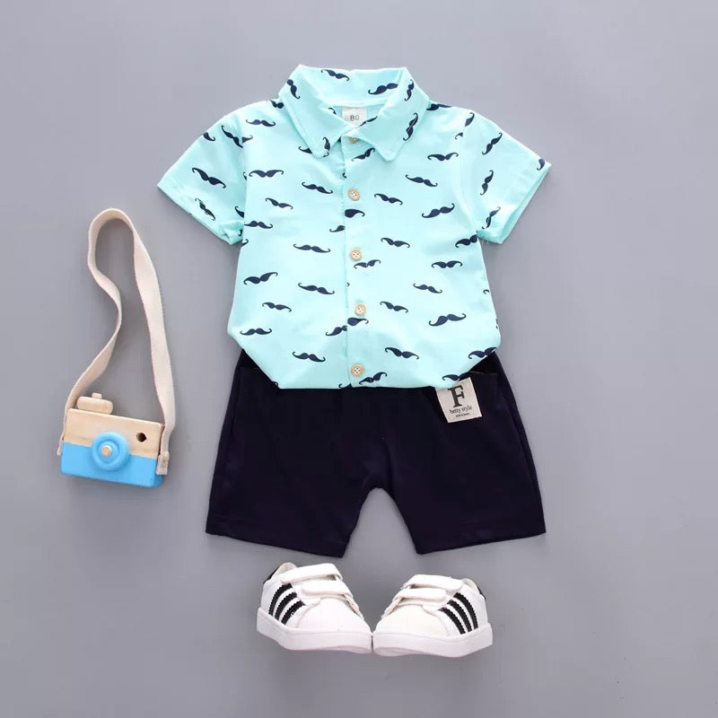 BOYS MUSTACHE TURQUOISE AND NAVY SHORT SET - Sassy Little Sunflower