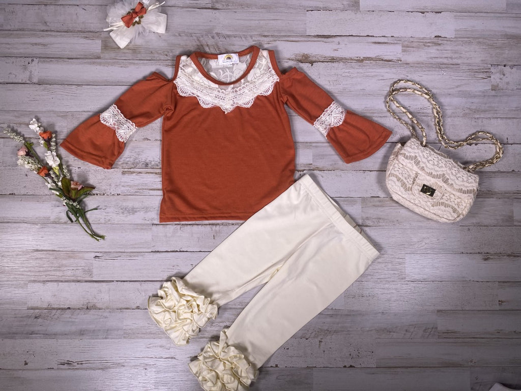 Orange Lace Cold Shoulder Shirt