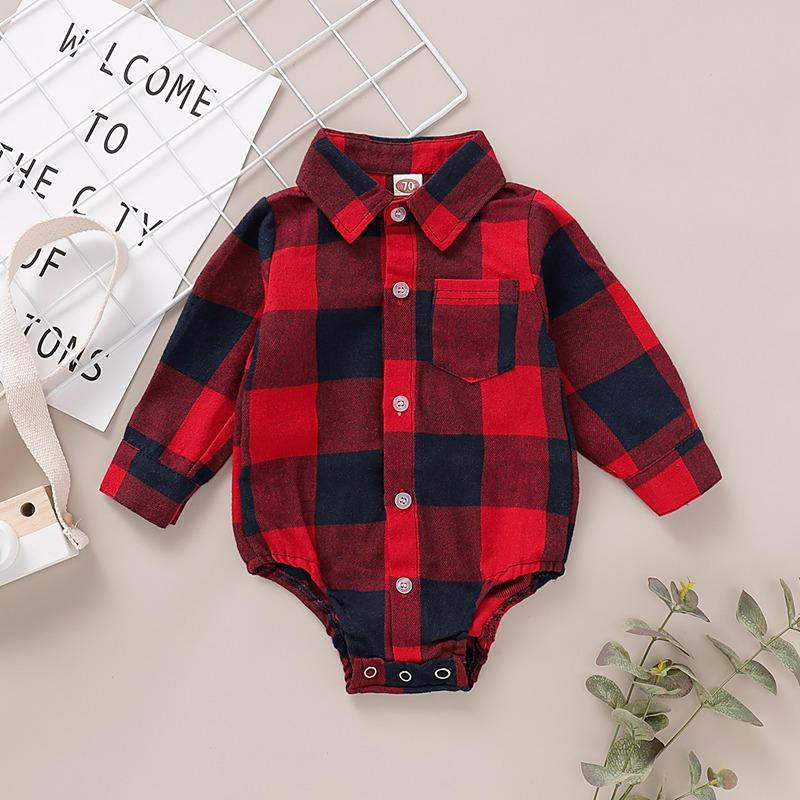 Boy Buffalo Plaid Onesie for Baby