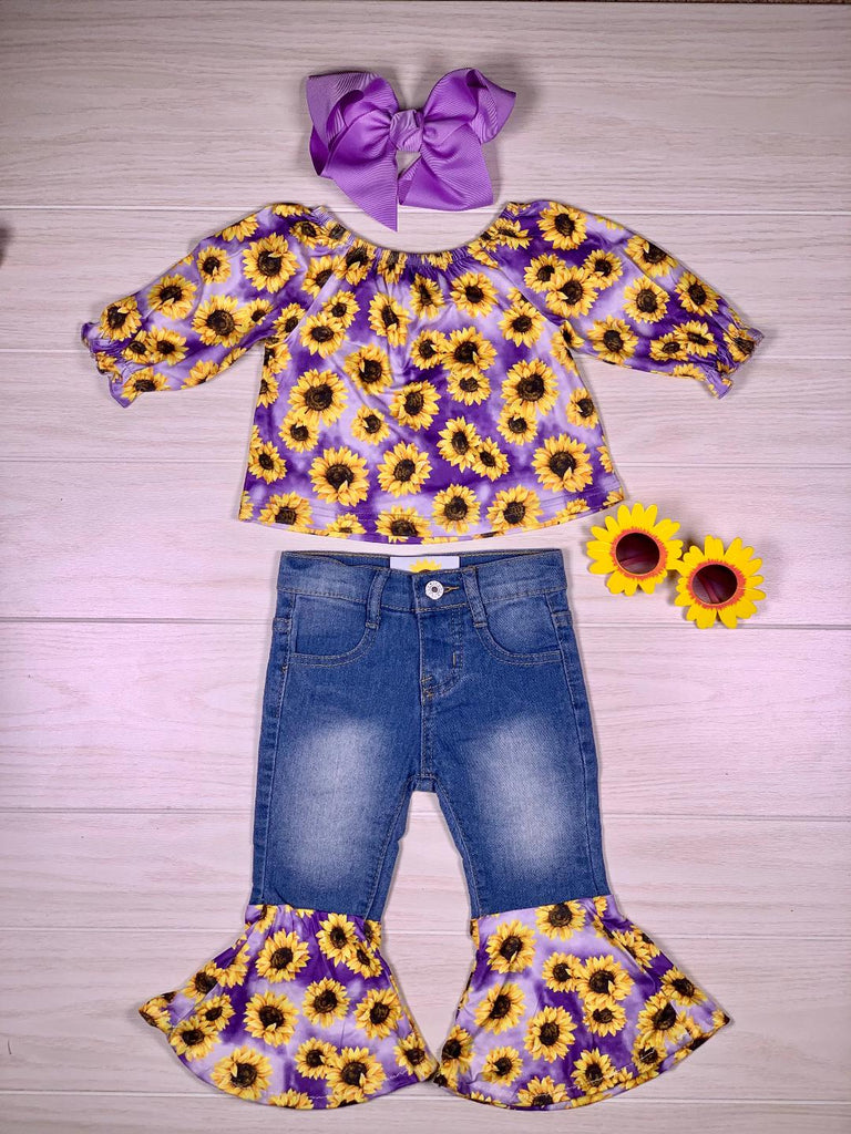 Purple Sunflower Denim Bell Set