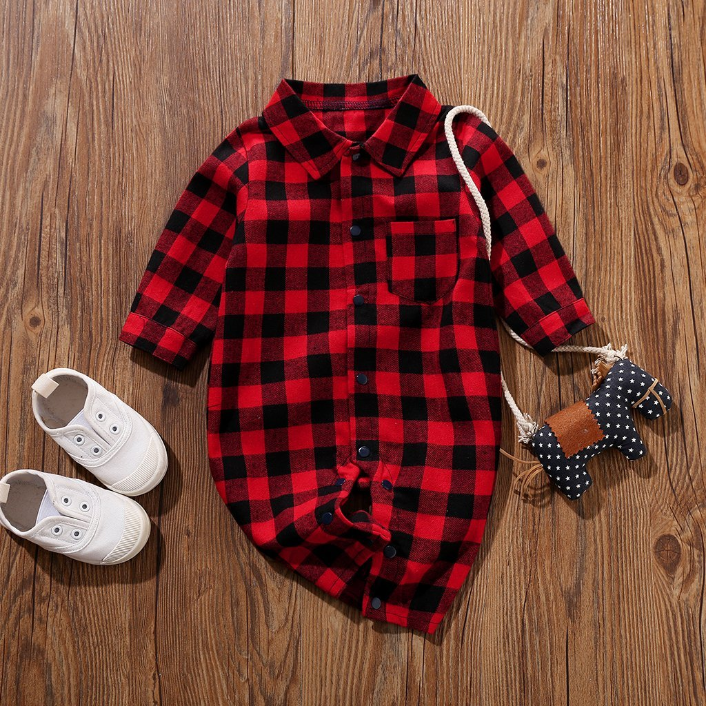 Boys Red Checkered Romper