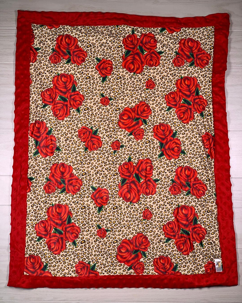 Red Cheetah Rose Girls Minky Blanket