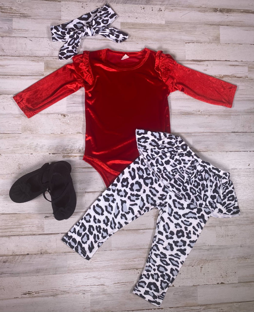 Red Velour Bodysuit with Black and white Leopard pants and headband