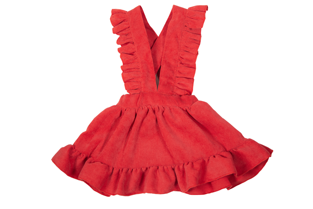 Red Corduroy Dress - Sassy Little Sunflower