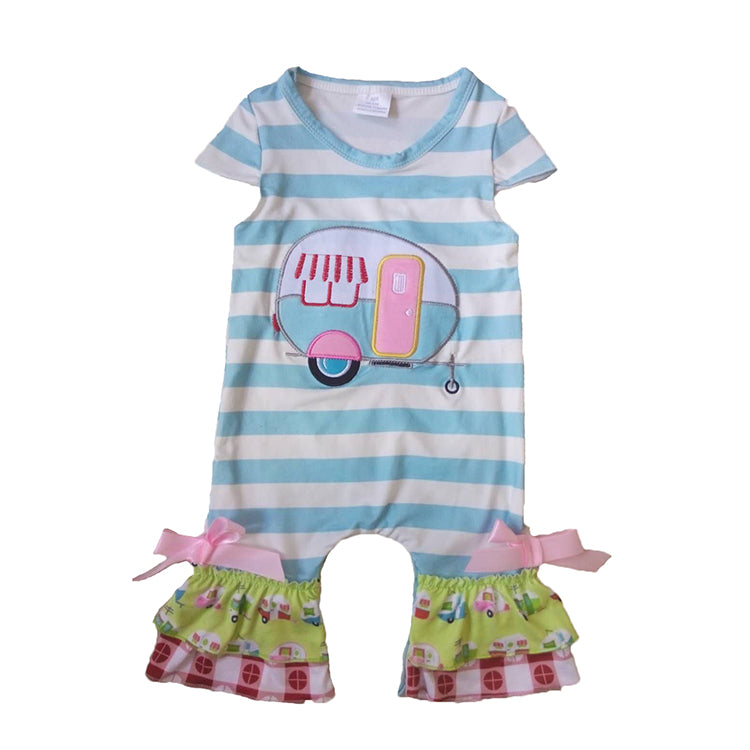 Turquoise & White Short Sleeved Striped Camper Romper - Sassy Little Sunflower