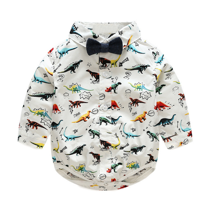 Boy Dinosaur Shirt and Pants with Suspenders & Bow Tie - Sassy Little Sunflower