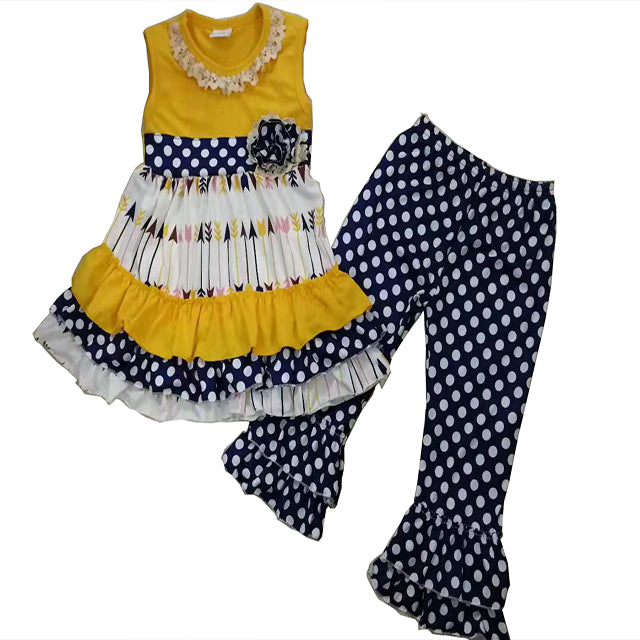 Yellow & Navy Polka Dot Pant Set - Sassy Little Sunflower