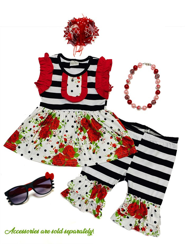 Black and white striped rose capri set - Sassy Little Sunflower