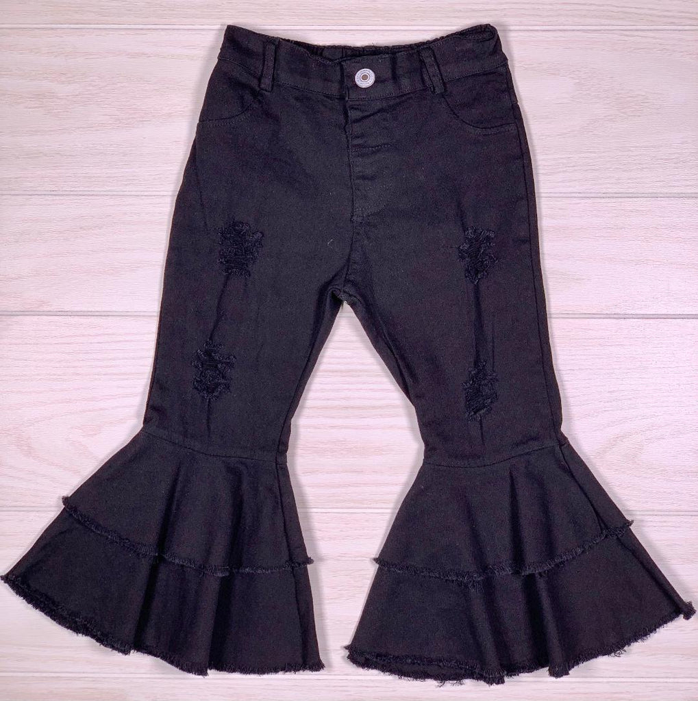 Black Distressed Double Denim Bell