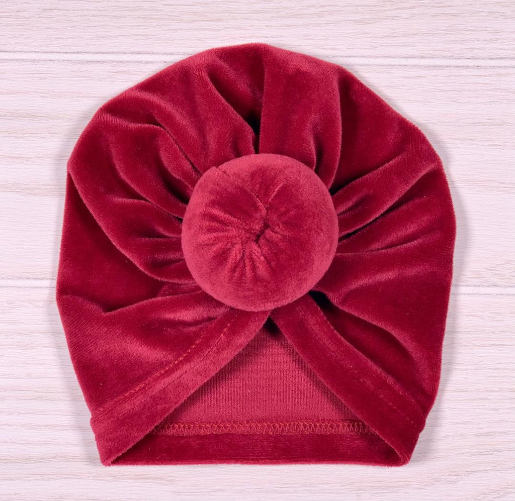 Burgundy Velour Turban - Sassy Little Sunflower