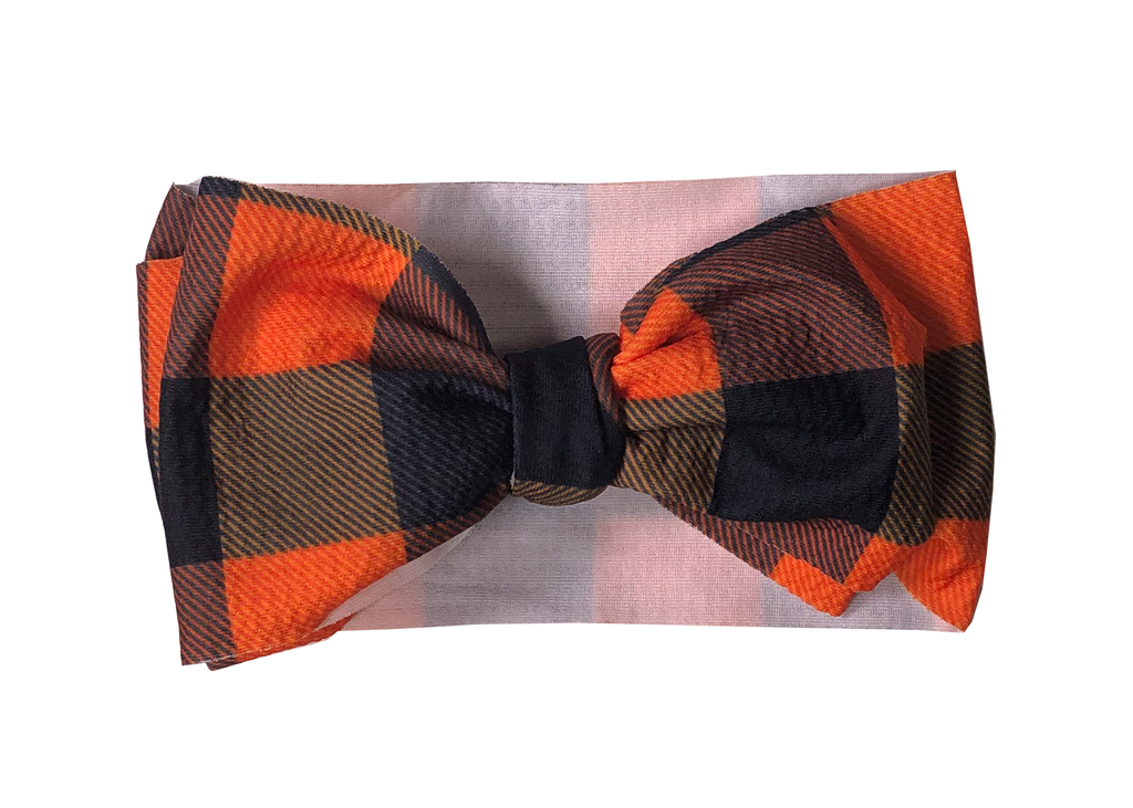 Orange Plaid Headwrap - Sassy Little Sunflower
