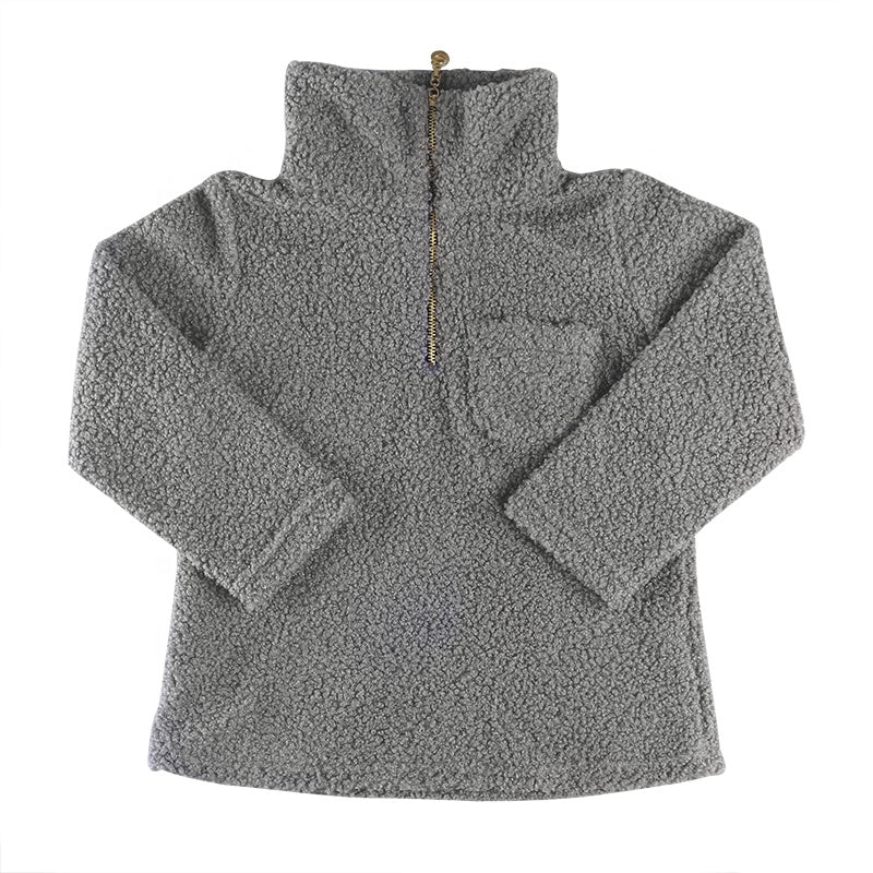 Grey Sherpa Pull Over - Sassy Little Sunflower