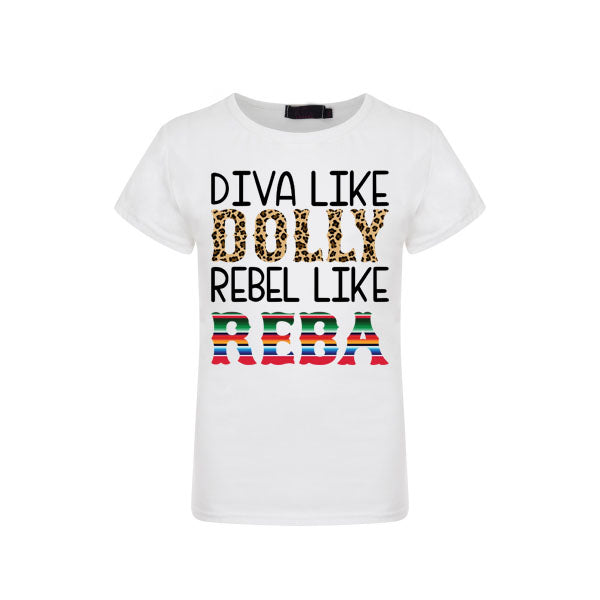 Diva Like Dolly Rebel Like Reba Graphic T-shirt or Onesie - Sassy Little Sunflower