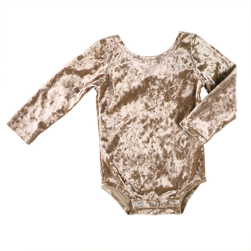 Light Gold Bow Back Bodysuit Velour - Sassy Little Sunflower