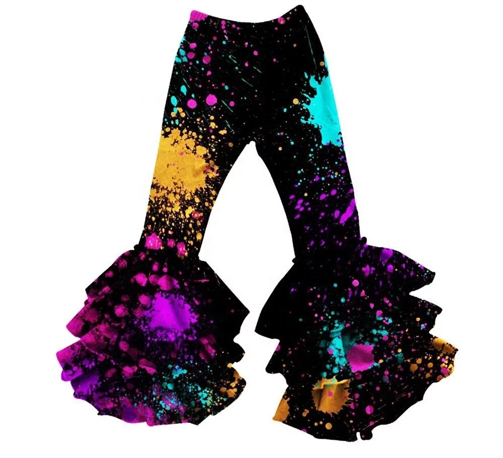 Paint Splatter Ruffle Pants - Sassy Little Sunflower