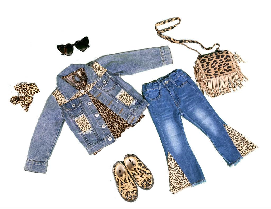 Dark Blue Washed Jeans with Animal Print detail or , Blue  Jean Jacket w/ Animal Print detail (SOLD SEPARATELY) - Sassy Little Sunflower