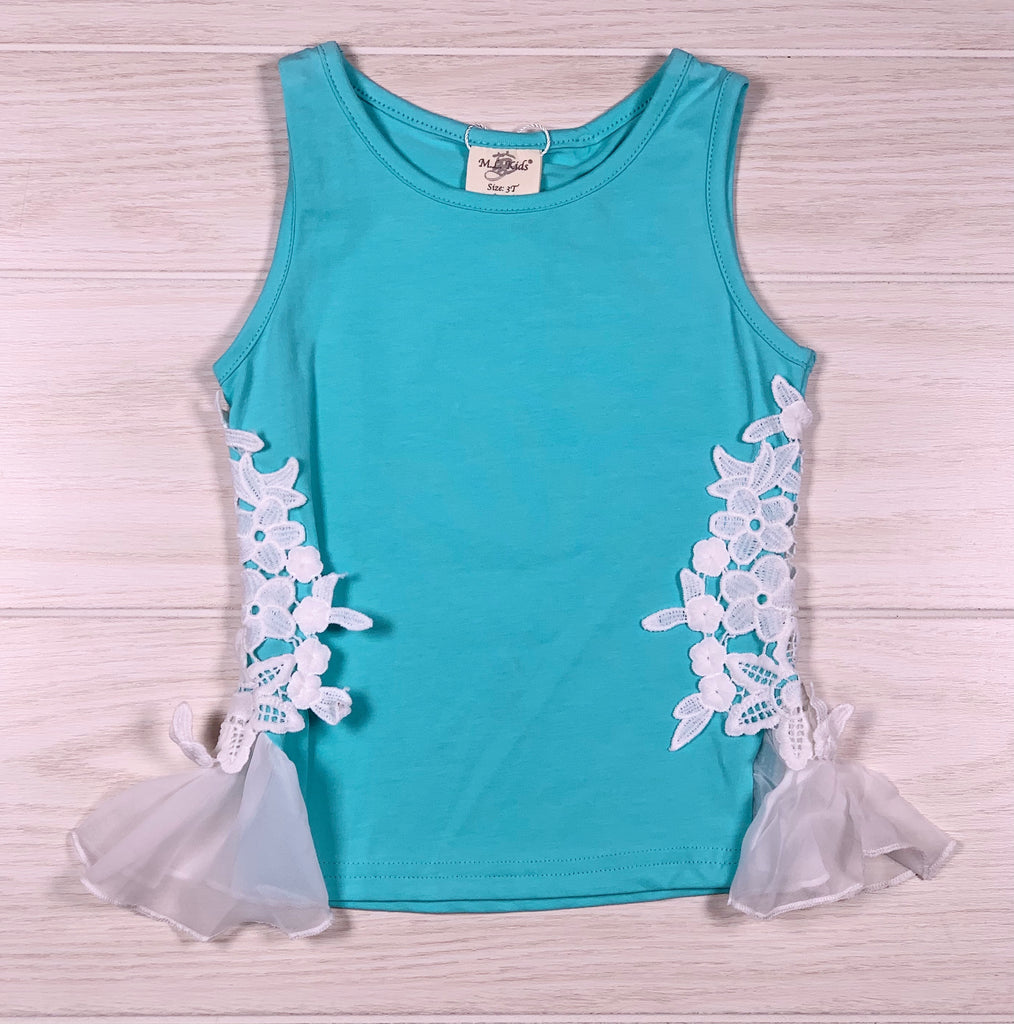 Turquoise Lace Side Tank - Sassy Little Sunflower