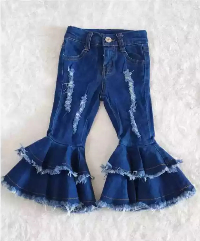 Blue Jean Distressed Double Bell Bottom