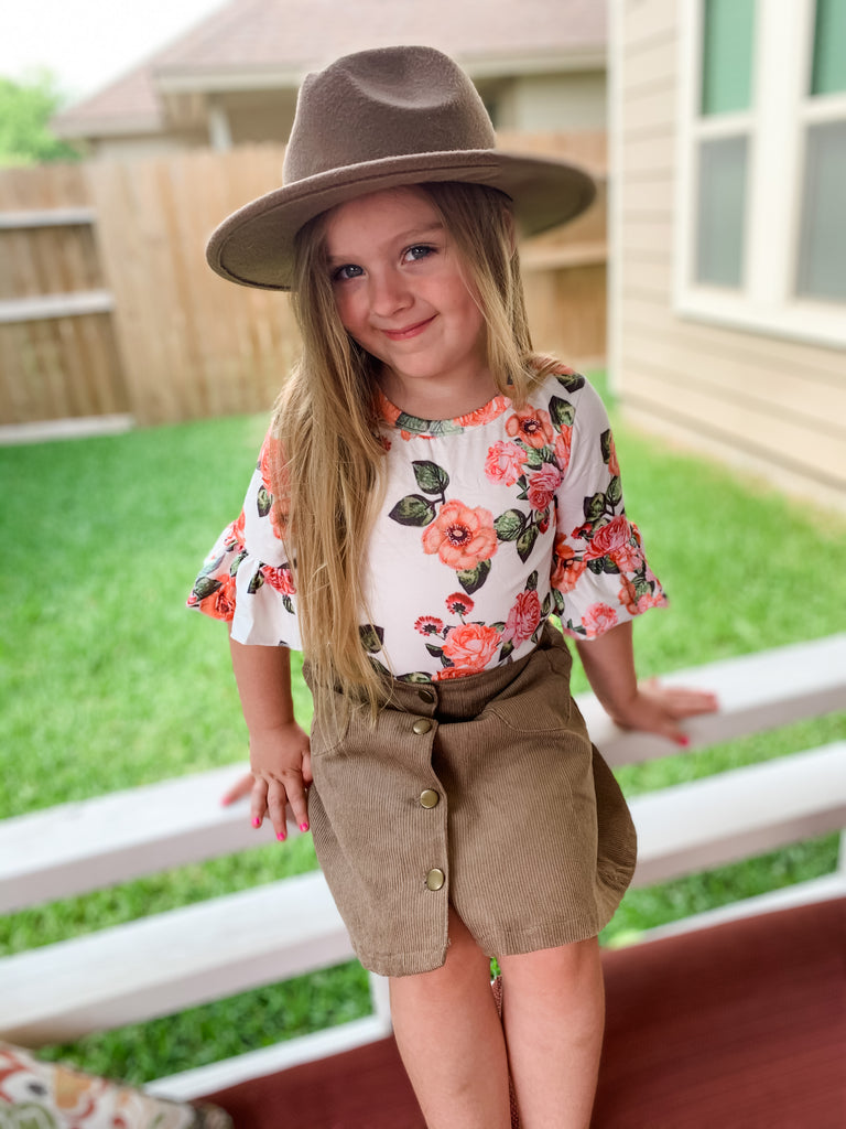 Corduroy Button Down Skirt - Sassy Little Sunflower