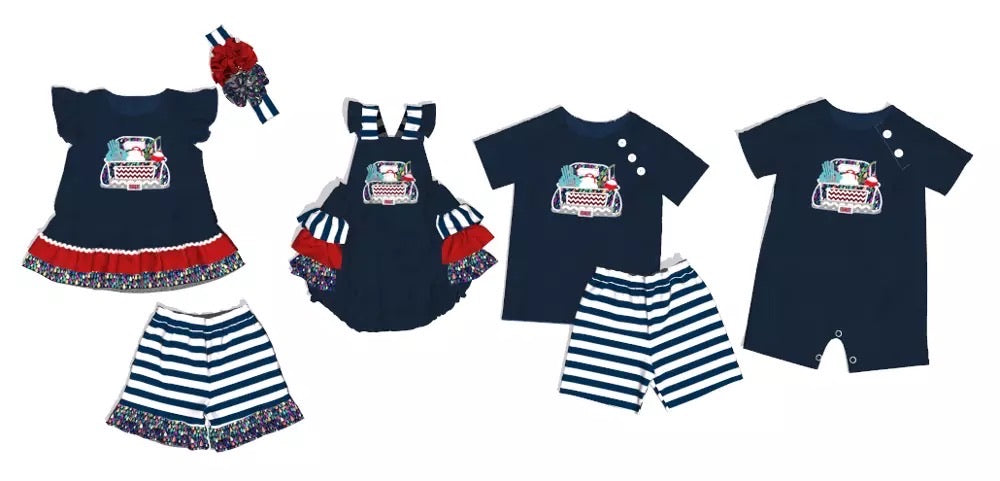 Navy Fish4life Truck Girls Short Set (bow not included) - Sassy Little Sunflower