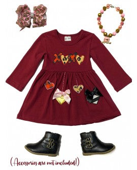 XOXO HEART APPLICATION FLARE DRESS. - Sassy Little Sunflower