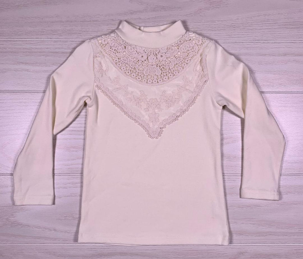 Ivory Lace Front Long Sleeve Shirt (M.L.Kids)