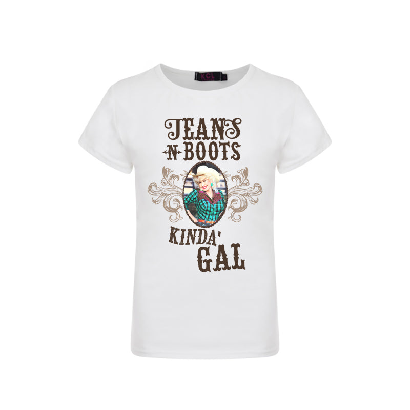 Boots and Jeans Kind of Girl Graphic Tee - Sassy Little Sunflower