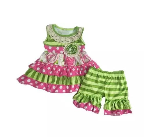 Lime Green Striped Roses Short Set - Sassy Little Sunflower