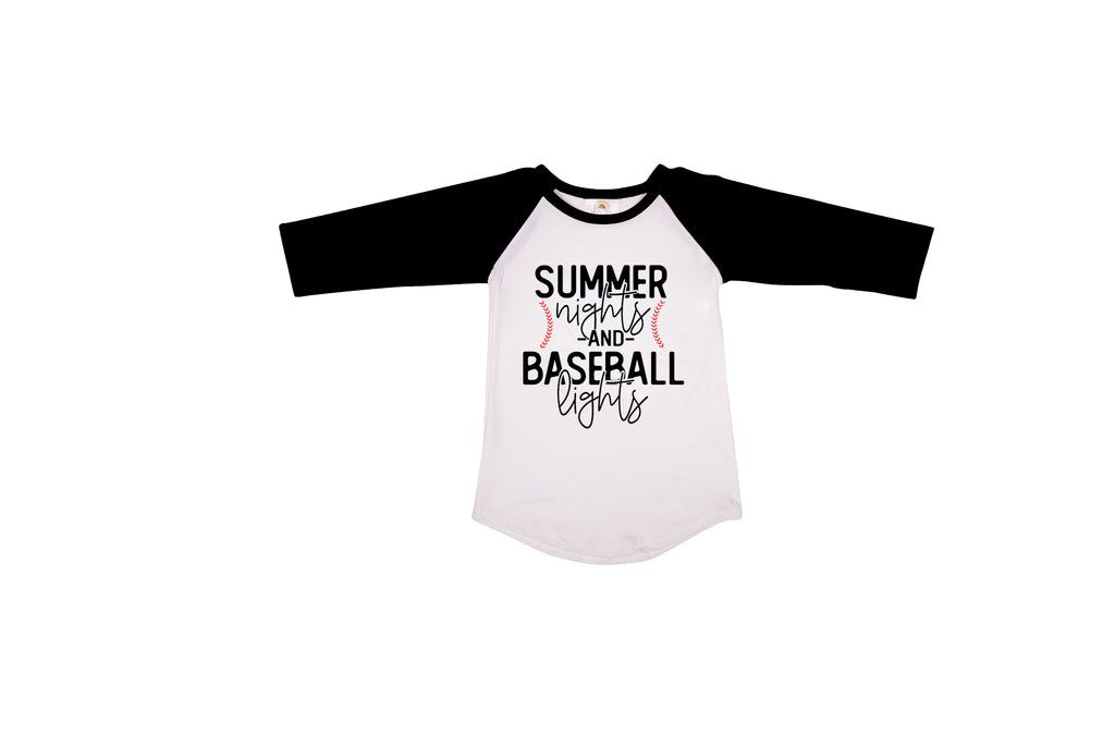 Summer Nights and Baseball Lights Graphic T-shirt - Sassy Little Sunflower