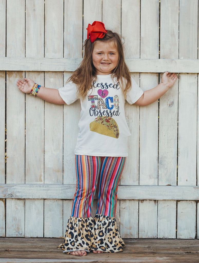 Sunset Serape Leopard Bell Bottoms - Sassy Little Sunflower