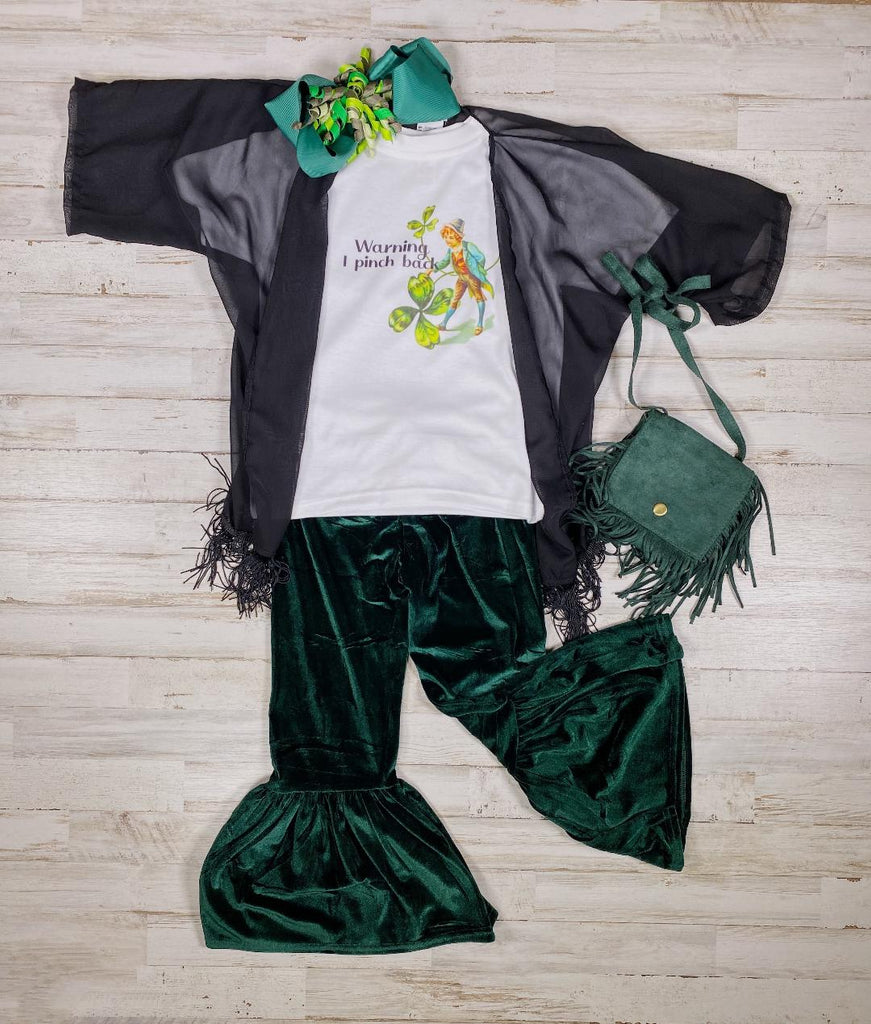 Emerald Green Velour Bell Bottoms - Sassy Little Sunflower