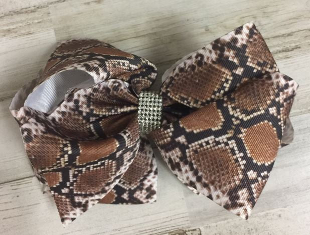 "Brown Snake Skin 6"" double stack bling bow"