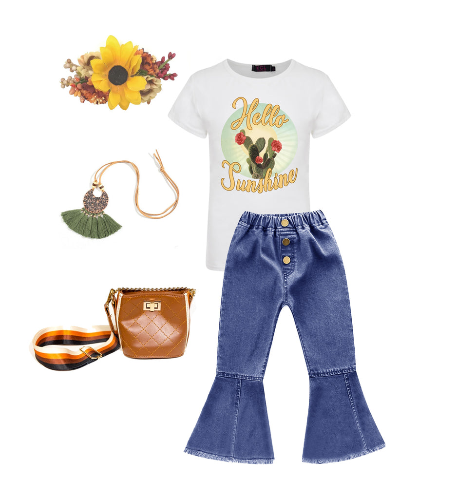 Hello Sunshine Graphic T-shirt - Sassy Little Sunflower