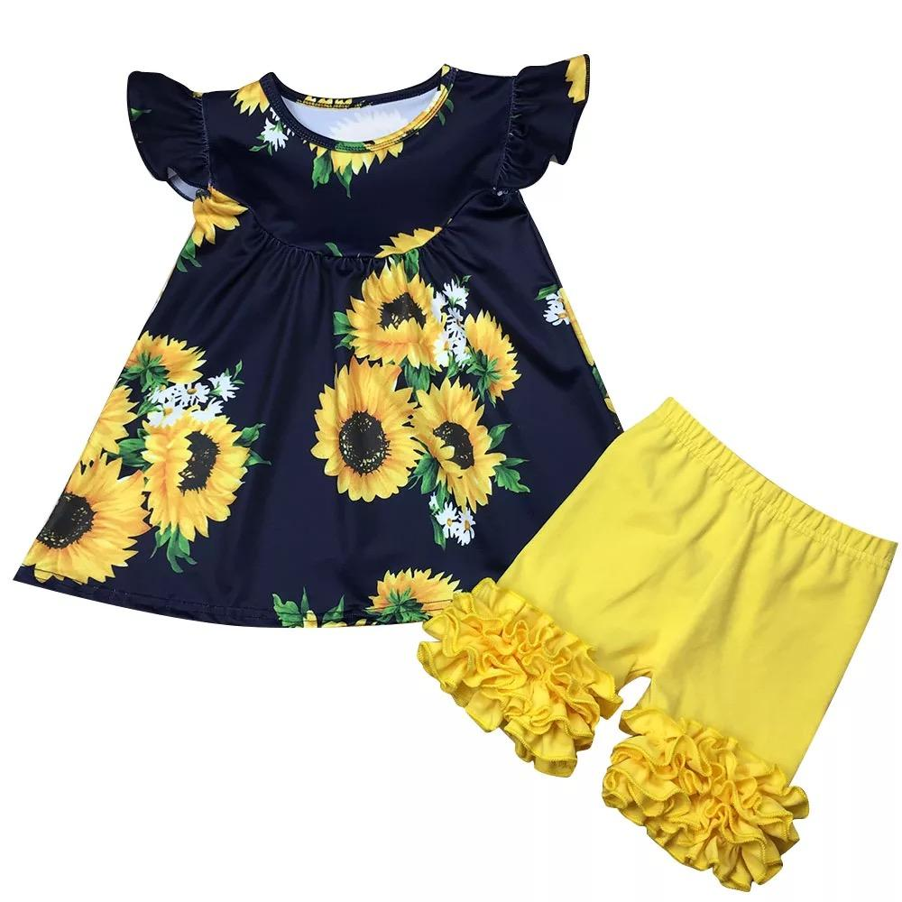 Navy Blue Sunflower Tunic  and Yellow Shorts with Ruffles (SOLD SEPARATELY) - Sassy Little Sunflower