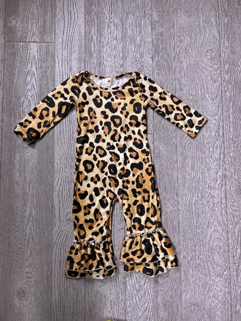 Long Sleeve Leopard Romper - Sassy Little Sunflower